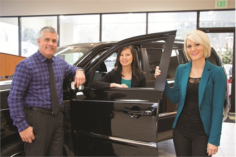 <p>Northwest Honda's GM Tony Carter and business managers Sam Baylasy (center) and Camille Kim (right) are putting information about F&I online to build trust with customers.</p>