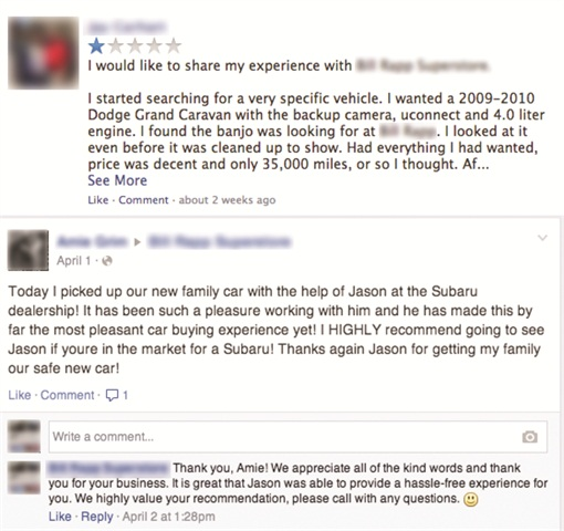 Tempting though it may be to delete negative comments posted on your dealership's Facebook page, the author advises dealers to craft appropriate responses and allow satisfied customers to come to the store's defense.