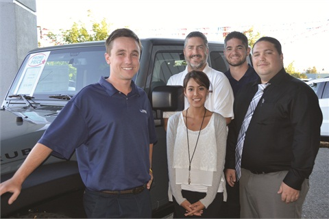 Fox's team includes (L–R) Sales Representatives Chris Comyns and Trisha Vicuna, General Sales Manager Ben Goley, Sales Representative Jarret Garrigan and Finance Manager Tsoai Gordley.