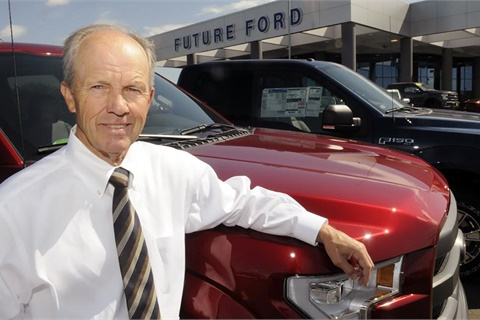 Northern California dealer Steve Pleau earned a surprise induction to the Ford Dealership Hall of Fame at a ceremony in Los Angeles in February. Photo courtesy Future Automotive Group