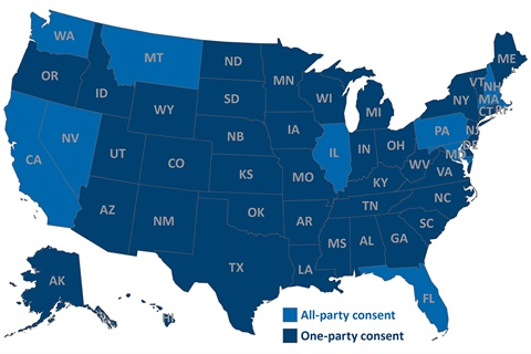 States of Consent: Dealers operating in all-party consent states must inform every party on a phone call if it is being recorded.