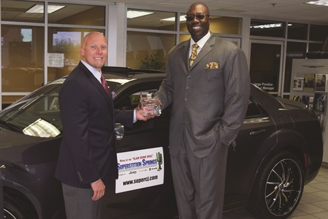 Pictured is Superstition Springs' Dealer Principal Alvin Heggs and Finance Director Ben Saxton. When Heggs closed the deal on the Mesa, Ariz., dealership three years ago, net F&I profit was around $240,000 per month, and the F&I team averaged $600 per copy on 135 units sold per month. Since then, F&I net profit has skyrocketed to $510,000 a month, while the F&I team now averages $2,700 per copy on 313 units sold per month.