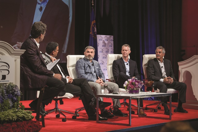 Fielding question posed by Charlie Vogelheim (left) during the 2018 Vehicle Finance Conference's CEO panel were (from left) Ravi Raghu, president of Capital One Auto Finance; Rich Morrin, president of Chrysler Capital and auto relationships for Santander Consumer USA Inc.; Rich Hyde, COO of Prestige Financial Services; and Dan Berce, president and CEO GM Financial. (Photo courtesy of AFSA)