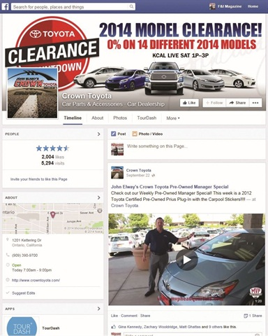 Crown Toyota's two-month Facebook ad campaign yielded a 47% increase in Facebook fans and a 286% increase in fans reached. It also deliver a 92% reduction in time spent on the social network.