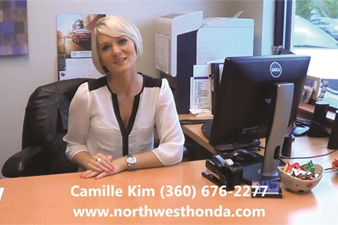 <p>Northwest Honda's Camille Kim started shooting videos about the dealership's F&I products and process last September.</p>
