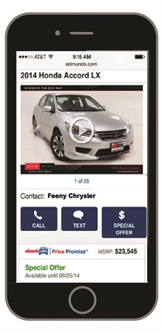 Edmunds' texting solution, CarCode, logs conversations between customers and salespeople in a dealership's CRM.