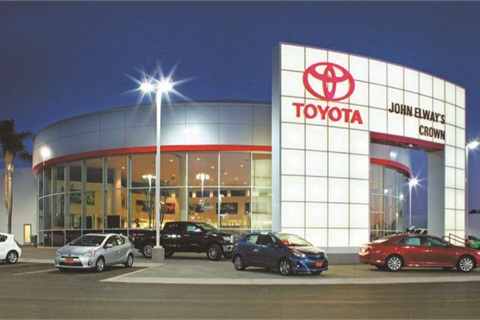 <p><strong>John Elway's Crown Toyota Scion, located 40 miles east of downtown Los Angeles, is co-owned by Mitch Pierce and Elway. It retails between 800 and 900 vehicles per month.</strong></p>