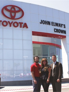 Pictured are Crown Toyota's Mike Miller, social media and Internet director, Kara Brinley, general sales manager, and Paxton Gagnet, general manager.