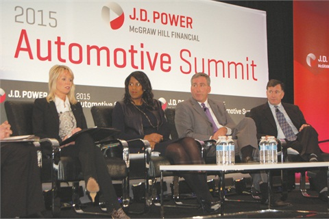 On the J.D. Power auto finance panel was Ford Motor Credit's Joy Falotico, Chase Auto Finance's Thasunda Duckett, Ally Financial's Tim Russi and TransUnion's Peter Turek.