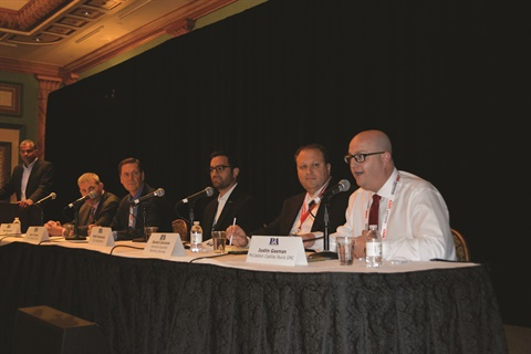 "Moderated by F&I Administration's Kumar Kathinokkula, the P&A Leadership Summit's 'Presenting F&I Products Online"" panel discussion featured (l-r) Matt Nowicki of IAS, The Impact Group's Mark Thorpe, Cox Automotive's Brett Pomerantz, Dan Lievrouw of American Guardian, F&I Director Justin Gasman."