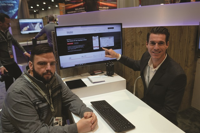 DealerSocket's Aaron Schinke and Steven Meeker demonstrate new features added to the company's Precise Price digital retailing tool. They include the ability for car buyers to schedule test drives or vehicle deliveries from within the platform, and a new web credit app and soft-pull feature powered by Credit Bureau Connection.