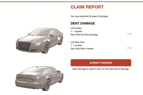Dent Wizard's Smart Claims app allows vehicle owners to initiate Ding Shield claims and specify where the damage has occurred from a handheld device.