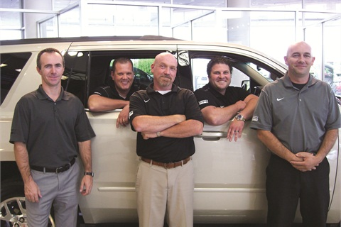 Pictured is Liberty GMC's five-person F&I team, including F&I Director Dusty Mandrell. Collectively, they average north of $1,500 per copy and 2.04 products per deal, all at a chargeback rate of less than 8%.