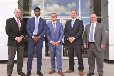 Pictured is Bob Moore Buick GMC's F&I team, which includes (l-r) producers Bobby Trumbley, Robert Ali, and Matt McCaleb, F&I Director Jay Edwards, and the store's General Manager George Miller.