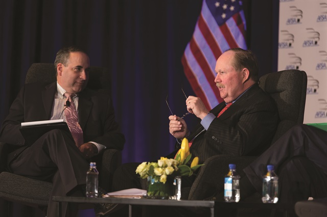 A month before the CFPB issued its controversial guidance, Rick Hackett, the bureau's former point man to the auto finance industry, joined AFSA's Bill Himpler on stage during a Q&A session at the 2013 Vehicle Finance Conference.