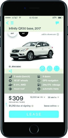 "Car buyers using the Honcker app simply search for the vehicle they want, select it, and finalize the deal. Honcker uses Experian to run a soft credit inquiry to see what the shopper qualifies for without impacting his or her credit score. When the customer clicks 'Lease,"" the deal is delivered to at least two dealer representatives via push notification."