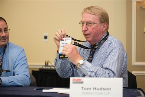 "Hudson Cook LLP's Tom Hudson was busy throughout the 55-minute session, offering his take on why dealerships should not use backup contracts on spot deliveries and explaining why he thinks the U.S. Department of Justice is the toughest cop on the fair lending beat. He also explained why F&I pros should not use the term ""loan"" to describe what happens in the indirect financing channel."