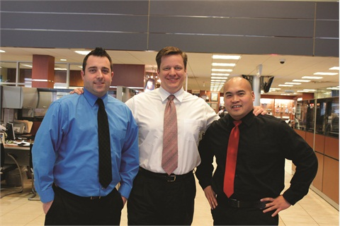 LaFontaine Automotive Group's digital marketing team members — (L-R) Jeremy Sheldon, Jason Stum and Carlito Mojica Jr. — manage 48 social media profiles for the group.