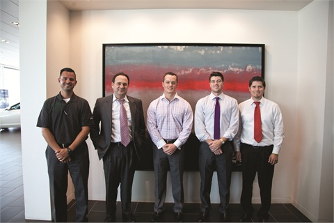 Pictured are a few members of Bob Moore Auto Group's 39-person F&I team. Collectively, they average just north of $1,200 per copy on new-vehicle deals, and more than $1,000 on used. VSC sales lead the way with an acceptance rate of 46%, followed by GAP at 43%.