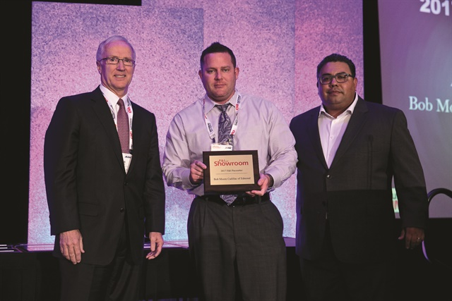 Pictured with American Financial's Arden Hetland and F&I and Showroom's Gregory Arroyo is General Manager Adam Black, who received the magazine's F&I Pacesetter award on behalf Bob Moore Cadillac of Edmond at the magazine's annual conference in Dallas this past September. The dealership is one of two Cadillac stores in the 14-rooftop Bob Moore Auto Group.