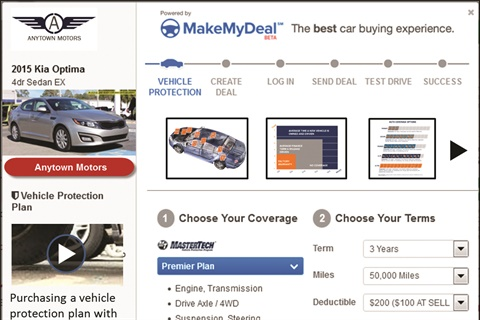 Cox Automotive's MakeMyDeal became commercially available in June 2014. The online deal-making platform allows dealers and buyers to negotiate deals from the dealership's website. Customers can then calculate their monthly payment based on the negotiated price, their credit tier, desired term length, down payment, negative equity, and taxes and fees. Last November, MakeMyDeal added F&I Connect to its online deal-making process.