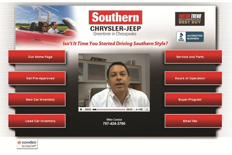 <p>Mike Casisa of Southern Chrysler-Jeep uses Covideo to tell customers when their warranties are nearly up</p>