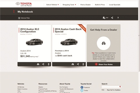 Toyota.com visitors can save information from anywhere on the site to Notebook, then forward it to a dealer with the click of a button.