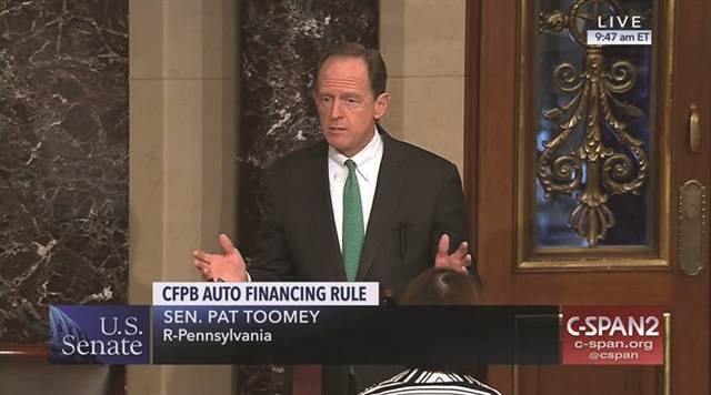 Setting the stage for Congress' repeal of the bureau's guidance was Sen. Pat Toomey's March 2017 request that the Government Accountability Office determine if the guidance fell under the Congressional Review Act.