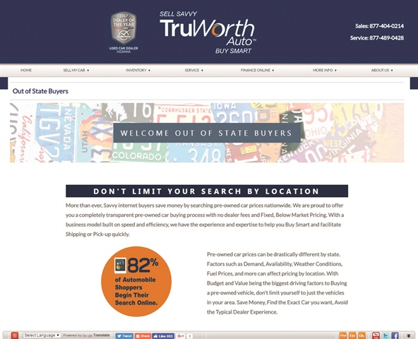Based in Indianapolis, used-car superstore TruWorth Auto loudly promotes its out-of-state titling services on its website.