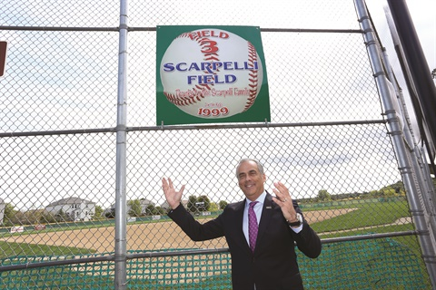 The Scarpelli family donated $75,000 to help build a youth sports facility, which includes a Little League baseball field that carries the family name.