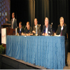 The direct-to-consumer panel session was moderated by (left to right) VisionMenu's Ron Martin and included Ristken's Patrick DeMarco, APCO's Larry Dorfman, CNA's Jay Sharpnack, the AFIP's David Robertson and NAC's Pete Biscardi.