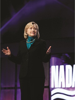 Former Secretary of State Hillary Clinton received a standing ovation after addressing the NADA crowd on the final day of the convention. Clinton praised U.S. dealers for their role in the economic recovery.