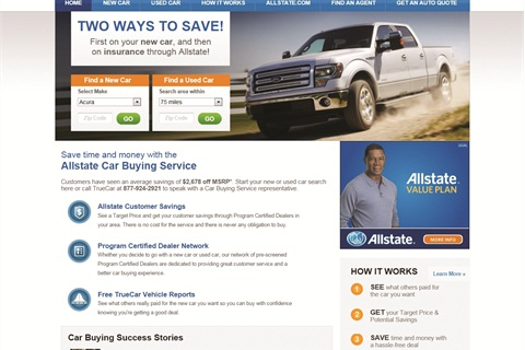 'Da Man' wasn't happy to learn that TrueCar is driving a new car-buying site for Allstate, which officials say has been live since February 2011.