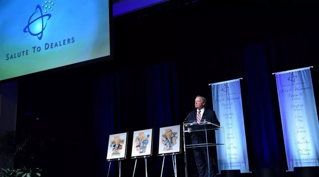 Edsel B. Ford II, who chairs the Salute to Dealers awards program, speaks during this year's awards banquet in Las Vegas. The banquet is held every year during the National Automobile Dealers Association Convention.