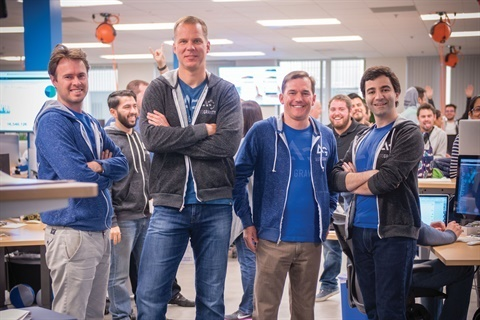 Andreas Hinrichs, who departed AutoGravity in May, is seen here with former and current members of the fintech firm's executive team.