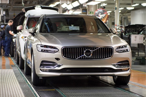 A 2017 V90 wagon rolls off Volvo's Gothenburg, Sweden, assembly line. Photo courtesy Volvo Car USA LLC