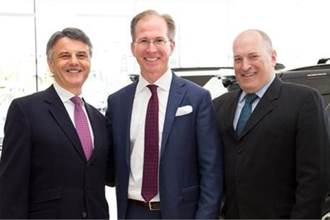 Dr. Ralf Speth, CEO of Jaguar Land Rover (left), and Joe Eberhardt, president and CEO of Jaguar Land Rover North America (right), joined Dealer Principal Jack Weidinger at the grand opening of Jaguar Land Rover Freeport (N.Y.). Photo courtesy Jaguar Land Rover