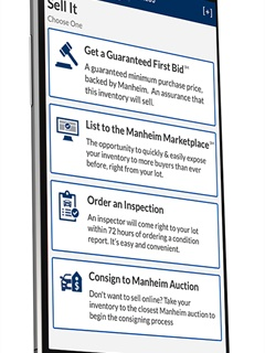 The Manheim Express mobile app is now available to auto dealers nationwide following its initial debut at NADA 2018 and an eight-market pilot program. Photo courtesy Cox Automotive