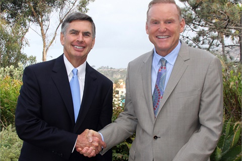 Dealers Will Lutz (right) and Charlie Gilchrist shake hands following the National Automobile Dealers Association (NADA) board meeting in Dana Point, Calif., at which they were elected as chairman and vice chairman, respectively, for the term that will being in March 2018. Photo courtesy NADA