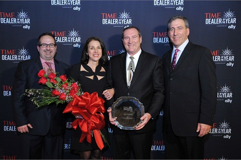 From left, Moritz Loew of TIME, Sarah and Jeff Teague, the 2014 TIME Dealer of the Year, and Tim Russi, Ally Financial president of Auto Finance at the 2014 NADA Convention and Expo.