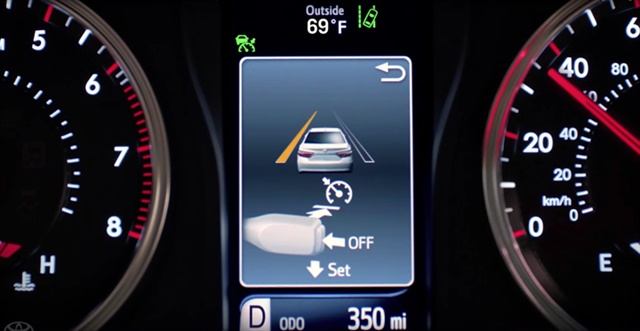 Screen shot illustrating Toyota's Safety Sense Lane Departure Alert system controls. Image courtesy of Toyota