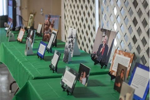 <p>Tributes to Ed Bobit line a table at a reception following the memorial service. Photo by Kelly Bracken.</p>