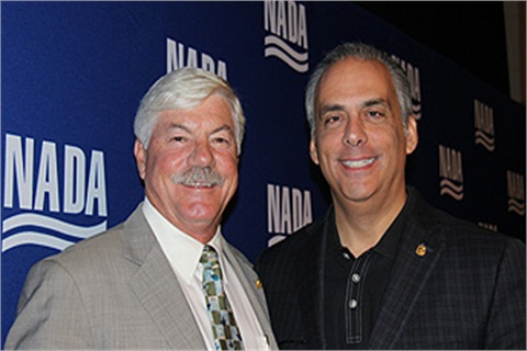 NADA incoming chairman Jeff Carlson (left) and incoming vice chairman Mark Scarpelli (right) at NADA's board meeting in Palm Beach, Fla., this week.