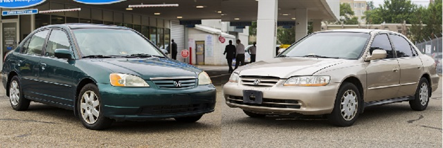 Two Honda models that contain the dangerous Takata air bag inflators.