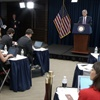 <p>FOMC Chairman Powell answers reporters' questions during Wednesday's press conference.</p>